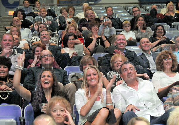 Fun: The crowd reacts to dancers during the annual Dancing with the Stars event at Hulman Center Friday night.