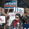 Supporters: Democrat supporters meet at their headquarters Friday afternoon.