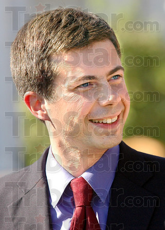 Happy face: Democrat candidate for State Treasurer Pete Buttigieg is happy to be in Terre Haute meeting with other candidates and their supporters Friday afternoon.