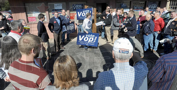 Dems meet: A group of candidates and their supporters meet at Democrat headquarters  Friday afternoon.