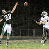 Deflection: West Vigo defender #28, Jacob Creasey gets his fingertips on an incoming pass to Northview's #3, Andrew Butts causing an incompletion.