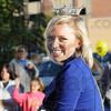 Homecoming queen: Indiana State University homecoming queen Taylor Bough smiles for the thousands in attendance at the annual Blue and White Parade.