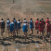 Tribune-Star/Joseph C. Garza<br /> Bolt of blue: The Indiana State men's cross country team bolts from the starting line after the start of the Men's Blue race during the 2010 Pre-Nationals Saturday at the Lavern Gibson Championship Course.