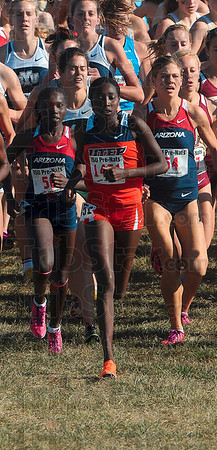 Tribune-Star/Joseph C. Garza<br /> In the lead: UTEP's Risper Kimaiyo runs at the front of the pack during the Pre-Nationals' Women's Blue race Saturday at the Lavern Gibson Championship Course. Kimaiyo won the Women's Blue race with a time of 20:03.4 minutes.