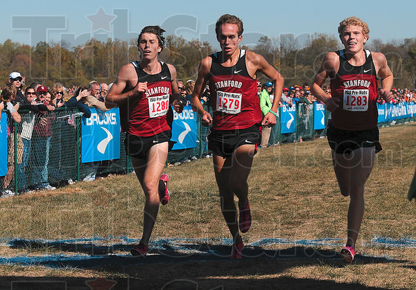 Tribune-Star/Joseph C. Garza<br /> Three Co-champions?: Stanford's Elliott Heath, Chris Derrick and Jake Riley near the finish to be the top three finishers in the 2010 Pre-Nationals Men's Blue race Saturday at the Lavern Gibson Championship Course.