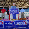 On stage: United States Congressman Mike Pence was the keynote speaker at a Saturday morning rally at the Wabash Valley Fairgrounds. He appeared on behalf of fellow Rebublicans including Alan Morrison, Bob Heaton and Larry Buschon, who is also running for Congress. With them was Terre Haute mayor Duke Bennett.