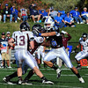 Pressure: Indiana State's Ryan Roberts(15) reaches for Missouri State quarterback Cody Kirby(13).