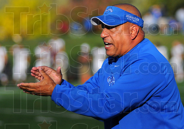 Questions: Sycamore head football coach Trent Miles reacts to a questionable timeout at the end of the first half in Indiana State's game with Missouri State Saturday afternoon at Memorial Stadium.