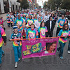 Tribune-Star/Joseph C. Garza<br /> For Tanya: Ron Shannon, left, walks with family and friends as they walk to remember Ron's late wife, Tanya Shannon, during the Race for the Cure Saturday on Wabash Avenue.