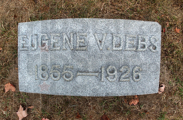 At rest: The grave marker of Eugene V. Debs. He and his wife lay in Highland Lawn cemetery, somewhat apart from the rest of the Debs family.