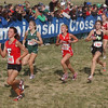 Near the end: Terre Haute South top girl Nikki Thiede(253) shows the wear of her run.