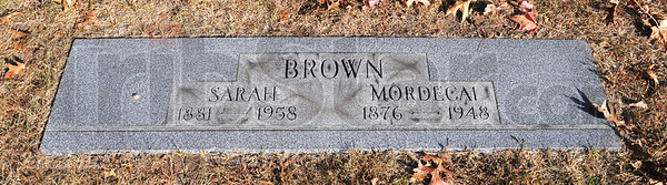 Mordecai Brown's marker in Roselawn.