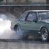 Smoke 'em if ya got 'em: A Mustang warms his tires in the burn-out box at Crossroads Dragway Satuday afternoon.