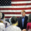 All American: Bob Heaton talks with a group of supporters at the VFW Wednesday afternoon.