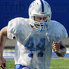 Intense: Indiana State's #44, Larry King shows intensity at Wednesday's practice at Memorial Stadium.
