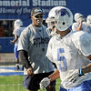 Defense: Indiana State defensive back, #5 Calvin Burnett gets some individual coaching during Wednesday's practice at Memorial Stadium.