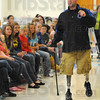 Look within: One of the themes of Josh Bleill's talk at Honey Creek Middle School was the neeed to look inside a person, not just the outside, to find out who they are.