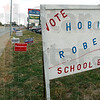 Pick me: A homemade sign touting Hobie Roberts as a Vigo County School board candidate rests along north Third street just south of Maple Avenue Monday morning.