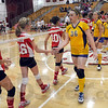 Nice game: Woodrow Wilson and Otter Creek volleyball players shake hands after Monday's championship match.