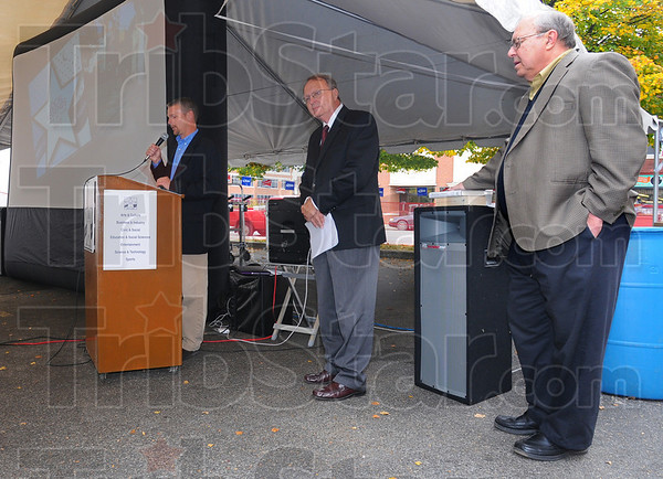 Presenting: Terre Haute City Councilman Neil Garrison along with Fred Nation and Mike McCormick were the presenters at the Terre Haute Walk of Fame ceremony Tuesday afternoon.