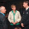 "Tribune-Star/Joseph C. Garza<br /> Thanks from the club: Exchange Club President Abe Miller talks with Terre Haute Fire Department Firefighter William ""Billy"" Roberts, right, and his mother, Nancy Roberts, before the awards ceremony Tuesday at the Holiday Inn."