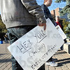 Early vote: An ISU student holds a placard for the Early Vote event on campus Tuesday morning.
