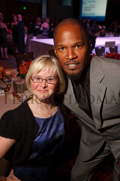 "(Denver, Colorado, Oct. 2, 2010)<br /> Karen Gaffney and Jamie Foxx.  The ""Be Beautiful Be Yourself Jet Set Fashion Show 2010,"" benefiting the Global Down Syndrome Foundation, at Hyatt Regency Denver at the Colorado Convention Center in Denver, Colorado, on Saturday, Oct. 2, 2010.<br /> STEVE PETERSON"