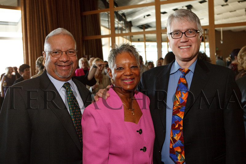"""(Denver, Colorado, Oct. 15, 2010)<br /> Reggie and Faye Washington with Kent Thompson.  """"Theatre Threads,"""" benefiting The Denver Center Alliance, at the Denver Center for Performing Arts, Seawell Ballroom, in Denver, Colorado, on Friday, Oct. 15, 2010.<br /> STEVE PETERSON"""