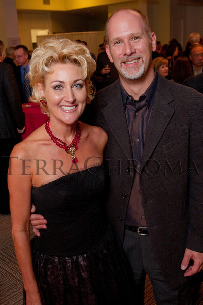 "(Denver, Colorado, Oct. 16, 2010)<br /> Tina Lovelace Sporkin and Jeff Sporkin (owners of The Woodhouse Day Spa, Artini sponsors).  ""Salon du Musée,"" benefiting the Denver Art Museum, at the Denver Art Museum in Denver, Colorado, on Saturday, Oct. 16, 2010.<br /> STEVE PETERSON"