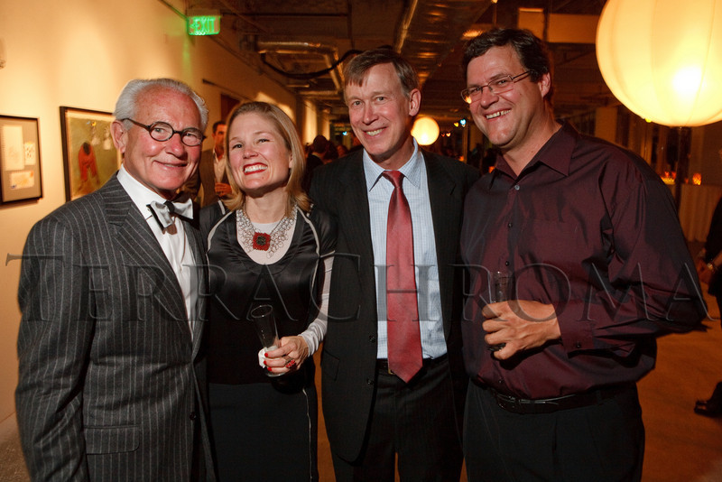 """(Denver, Colorado, Oct. 28, 2010)<br /> Barry Hirschfeld, Chase DeForest, John Hickenlooper, and Kirk Johnson.  """"2010 Luminocity Gala,"""" a benefit for the Museum of Contemporary Art Denver, at 1900 Sixteenth Street in Denver, Colorado, on Thursday, Oct. 28, 2010.<br /> STEVE PETERSON"""