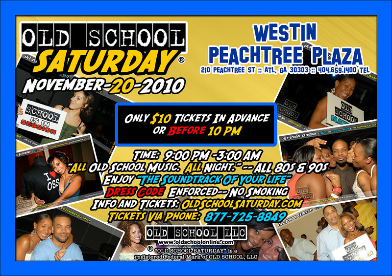 """OSS in Novermber will be at The Westin Peachtree Plaza.  This is the location with the upper balcony!!! Info, tickets, birthday packages, and VIP tables may be found here:   <a href=""""http://www.oldschoolsaturday.com"""">http://www.oldschoolsaturday.com</a>"""