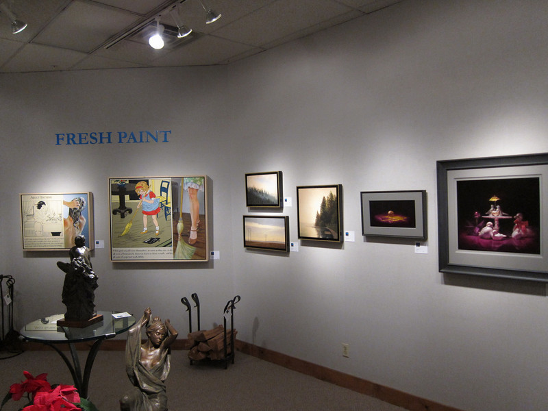 On Friday night, Chris was at the Peterson-Cody gallery in Santa Fe for the opening of the Fresh Paint exhibit. Her paintings are shown here between those of first-place winner Forest Solis (on the left) and second place winner Phillip Jackson. Chris' work received an honorable mention.