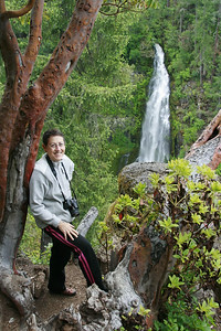 Lois at Barr Creek Falls, on the Rogue River in Prospect, Oregon