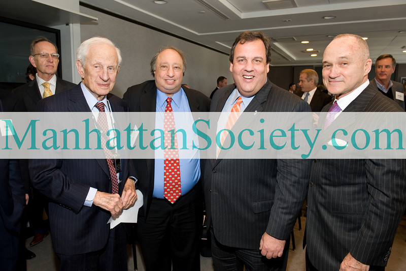 NEW YORK-DECEMBER 7: Robert Morgenthau,John Catsimatidis, New Jersey Governor Chris Christie,  New York City Police Commissioner Raymond Kelly attend Police Athletic League (P.A.L..) Luncheon with New Jersey Governor Chris Christie Hosted by Bernstein Global Wealth Management on Tuesday, December 7, 2010 at the offices of Bernstein Global Wealth Management, 1345 Avenue of the Americas, New York City, NY.   (PHOTO CREDIT: ©Manhattan Society.com 2010 by Gregory Partanio)