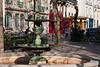 Neighborhood square and fountain