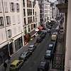 View from the hotel room.  Rue du Champ de Mars.