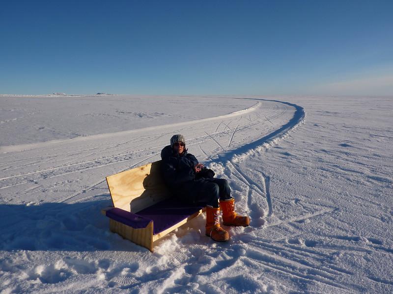 The bench at the end of the plane landing strip<br /> <br /> Photo: Julia Zabori