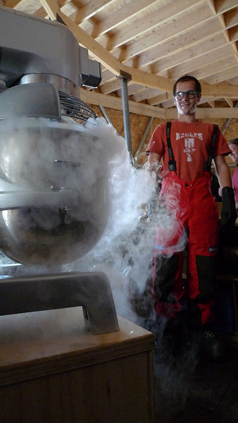 Gideon Gfeller making icecream using fluid nitrogen<br /> <br /> Photo: Sepp Kipfstuhl