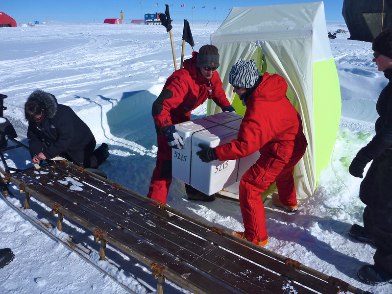 Boxes are moved on the sledges