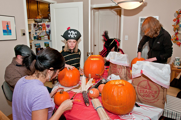 Hard at work carving pumpkins!