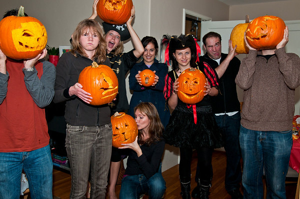 The pumpkin carving crew -- funny, crazy, scary pose!