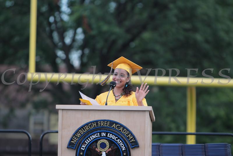 Cranarian Council President Jillian Ortiz offers her remarks during the Newburgh Free Academy (NFA) Class of 2010 Commencement Exercises on Thursday, June 24, 2010. Hudson Valley Press/CHUCK STEWART, JR.