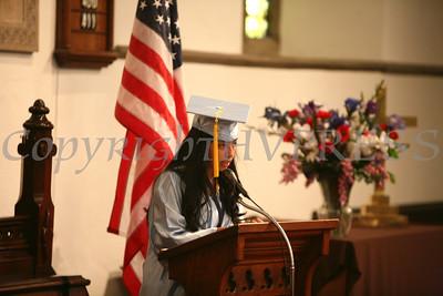 Katherine Lopez addresses her fellow graduates during the first graduation ceremony of Nora Cronin Presentation Academy at Calvary Presbyterian Church on Saturday, June 12, 2010 in Newburgh, NY. Hudson Valley Press/CHUCK STEWART, JR.