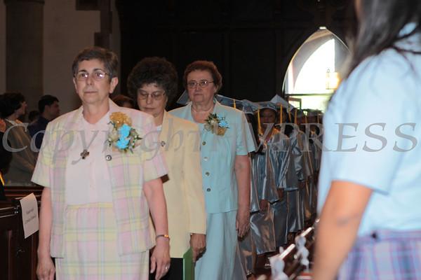 Sr. Yliana Hernandez PBVM, Principal leads the processional into Calvary Presbyterian Church for Nora Cronin Presentation Academy's first graduation on Saturday, June 12, 2010 in Newburgh, NY. Hudson Valley Press/CHUCK STEWART, JR.