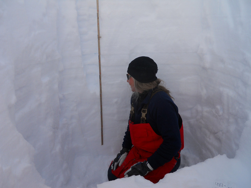 Measurements of snow properties are done in a snow pit<br /> <br /> Photo: Angelika Dummermuth