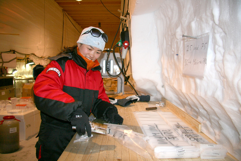 Packing cut ice<br /> <br /> Photo: J.P. Steffensen and M. Leonhardt