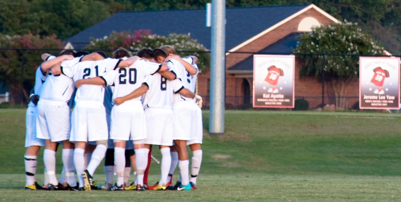 GWU men's Soccer gather before their game.