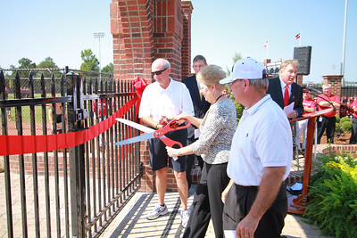 The Hamrick Family Gate Ribbon Cutting followed by the Dedication Ceremony of the John Henry Moss Stadium and Bill Masters Field. Afterwards, a game between GWU Alumn (Black) and Current GWU Students (Red).