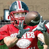 In good hands: Terre Haute South receiver Kevin Bracken hauls in a pass during training drills Thursday evening as the team prepares thor this weekend's game.