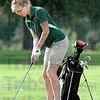 Just off: West Vigo's Ciara McClain chips a shot from just off the 14th green during game action Thursday evening.